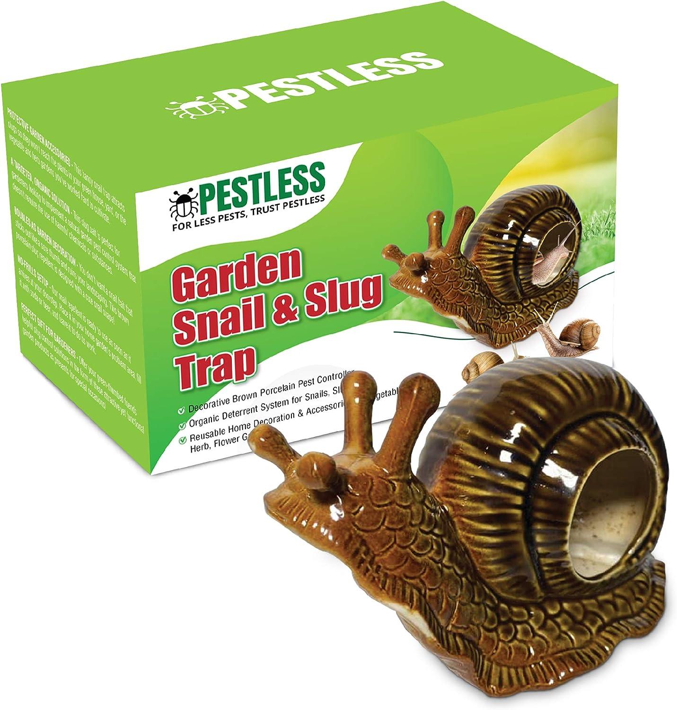 Pestless Snail & Slug Trap Garden Decoration - Decorative Brown Porcelain Pest Controller - Organic Deterrent System for Snails, Slugs - Home Decor & Accessories for Vegetable, Herb, Flower Gardens