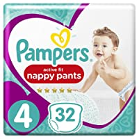 Pampers Premium Protection Active Fit Nappy Pants, 32 Nappies, 8kg -14kg, Size 4