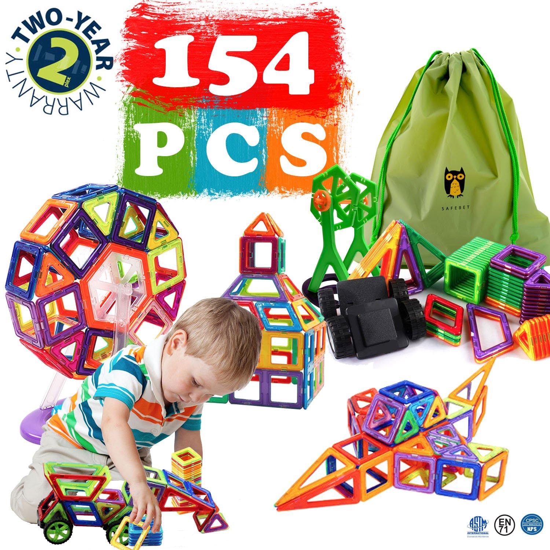 Bi-Smart Magnetic Toys Set 154 Pcs Creativity Educational Children's DIY Magnetic Tiles Set (Instruction Guide Included)