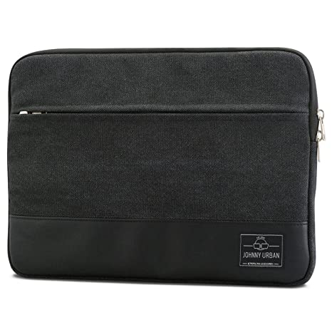 "Laptop Sleeve 14 Inch / MacBook Pro 15"" Vintage Black - Johnny Urban Canvas Bag"