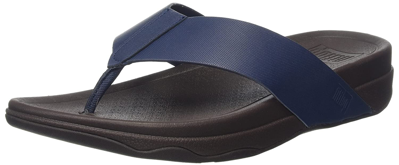 Fitflop Surfer (Leather), Sandalias de Punta Descubierta para Hombre 42 EU|Azul (Midnight Navy)