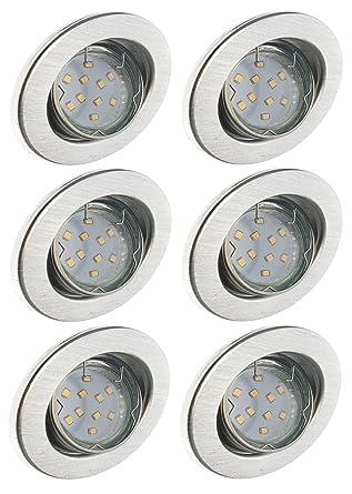 Trango 6er Conjunto de focos empotrables LED iluminación empotrada Foco de techo de aluminio inoxidable TG6729