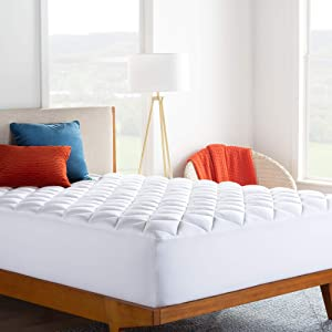 LINENSPA Ultra Plush Pillow Top Mattress Pad- Rayon from Bamboo Cover with Down Alternative Fill, Full, White