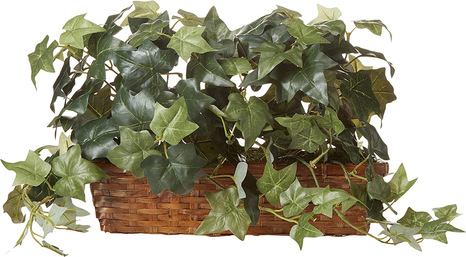 Nearly Natural 12.5in. Puff Ivy with Ledge Basket Silk Plants, Green,20.5'' x 6'' x 12''