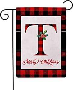 Christmas Plaid Decorative Garden Flags with Monogram Letter T Double Sided Farmhouse Red/Black Buffalo Plaid Winter Holiday Outdoor Garden Flags 12.5×18 Inch for House Garden Yard Patio Decor (T)