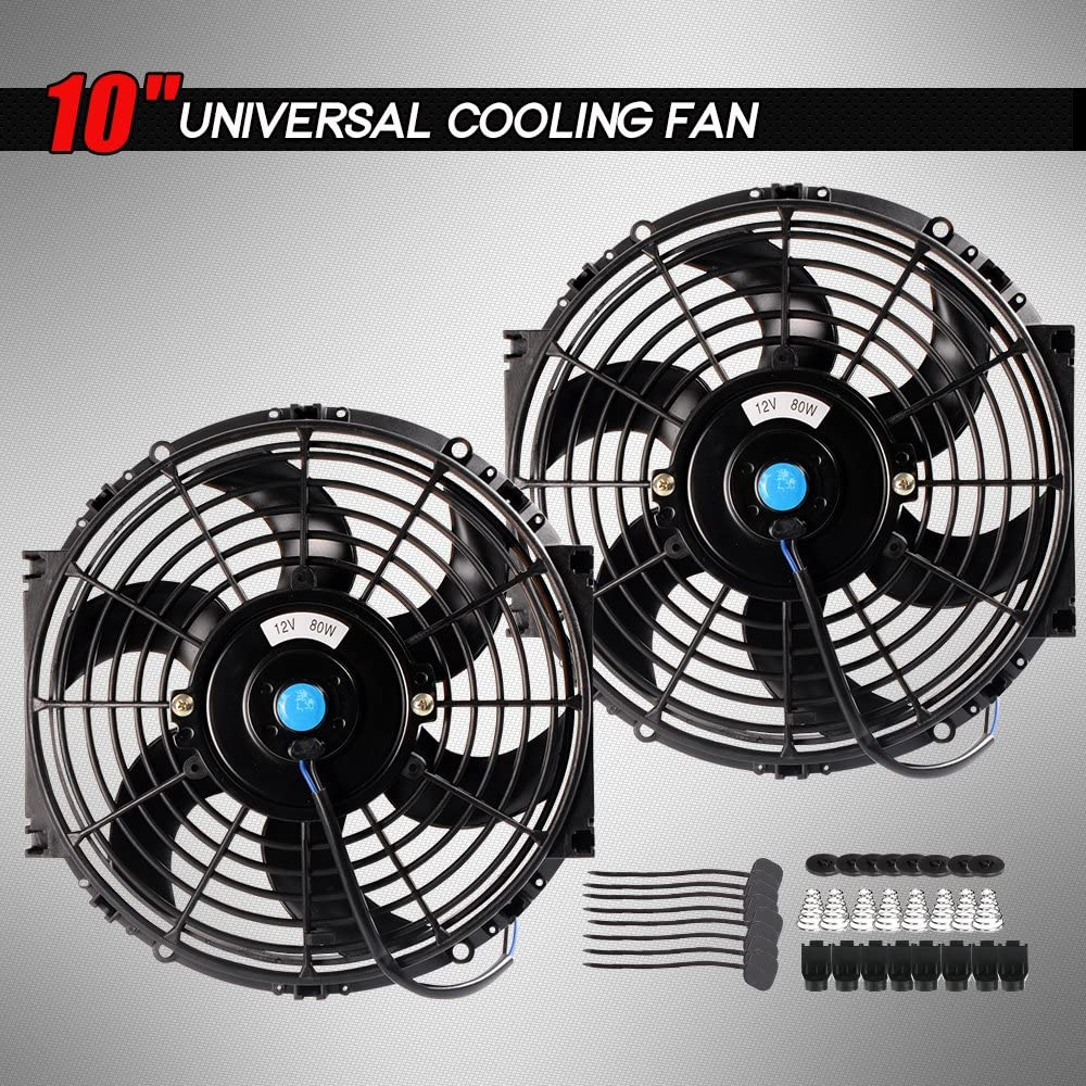 "2Pcs Universal Slim 12/"" 12V PULL//PUSH CAR RADIATOR ENGINE COOLING FAN+MOUNTING"