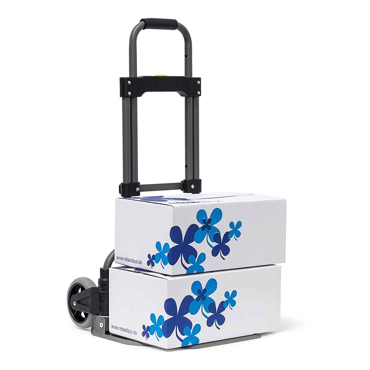 Relaxdays Transport Trolley For Max 70 kg (154 lbs), 97.5 x 39 x 42 cm, Sack Truck Iron & Synthetic W Telescope Handle, Hand Cart With Big Wheels, Luggage Trolley For Moving, Transport, Metallic 10019097