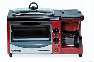 Courant CBH-4601R 3-in-1 Multifunction Breakfast Hub (4 Slice Toaster Oven, Large 10'' Diameter Griddle Pan, 5 Cup Coffee Maker), Red