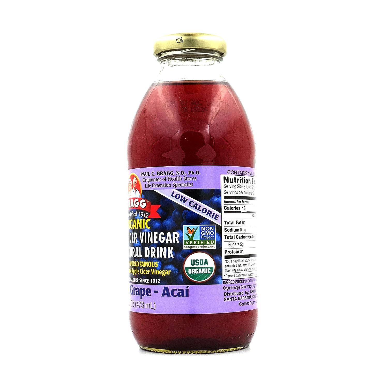 Bragg Organic Apple Cider Vinegar Grape And Acai 16 473 Ml Oz Fruit Vinegars Grocery Gourmet Food