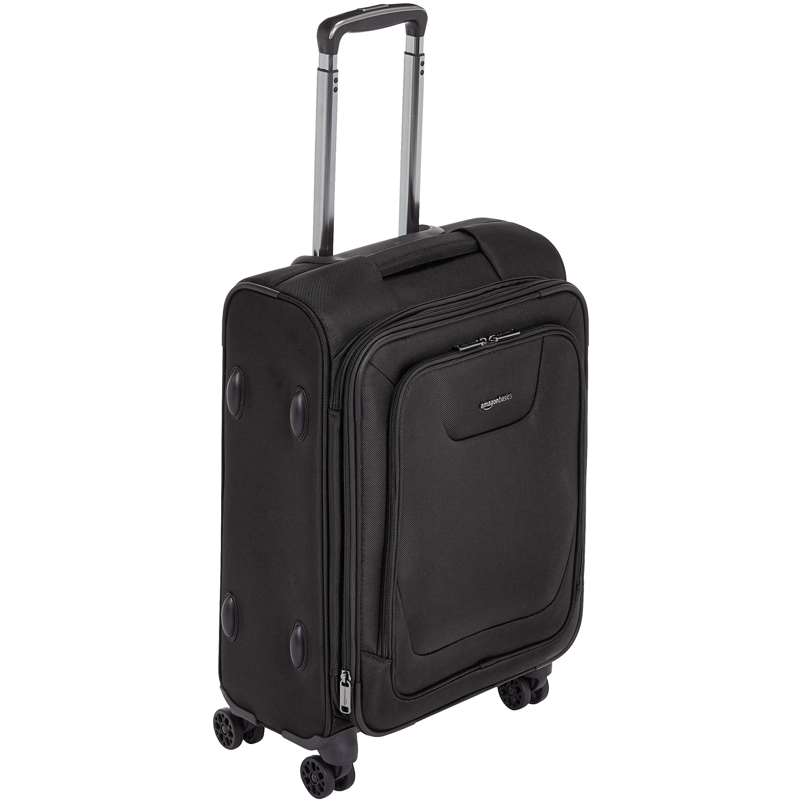 AmazonBasics Expandable Softside Carry-On Spinner Luggage Suitcase With TSA Lock And Wheels - 21 Inch, Black