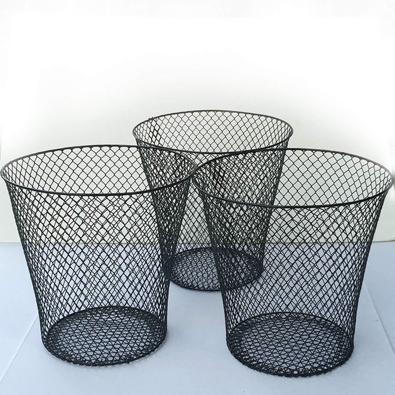 Set of 3 Wastebasket TAVERNIT Essentials White Wire Mesh Waste Basket
