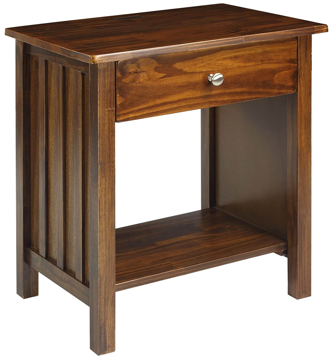 Casual Home 360-24 Vanderbilt Nightstand with USB Ports-Warm Brown