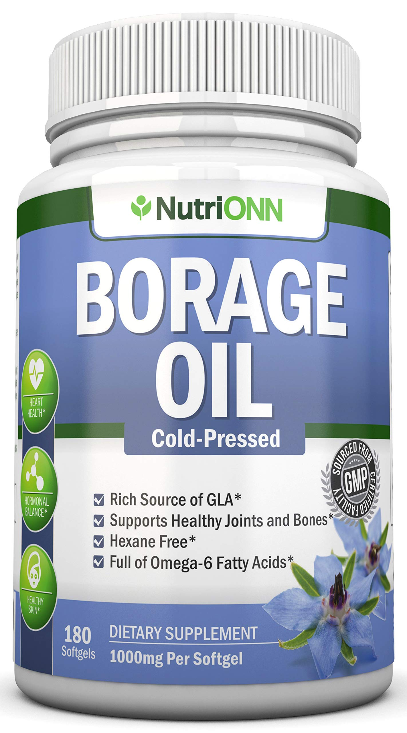 Borage Oil - 1000 mg - 180 Softgels - Cold Pressed High GLA Borage Seed Oil - Hexane and PA Free - Great for Skin, Joints and Bones. Supports Healthy Hormonal Balance and Heart Health by NutriONN