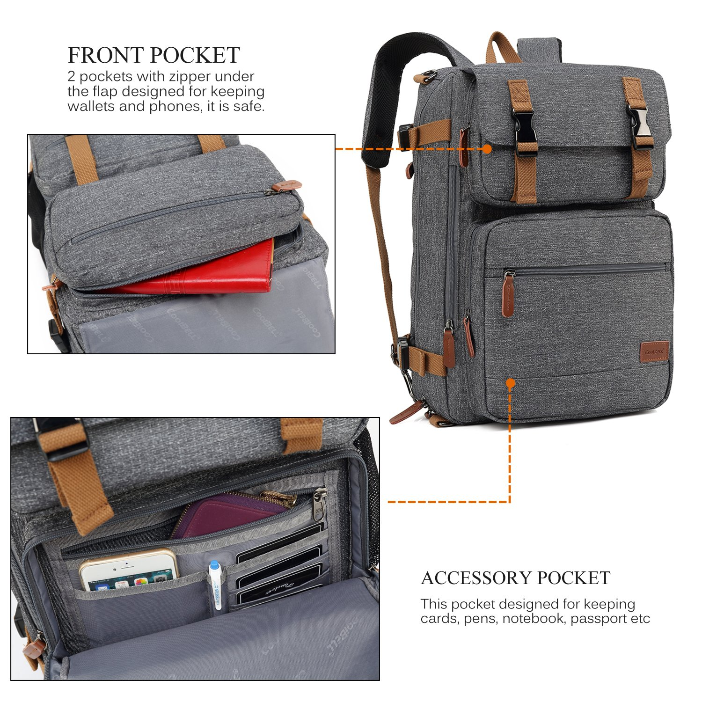 CoolBELL Convertible Briefcase Backpack Messenger Bag Shoulder bag Laptop Case Business Briefcase Travel Rucksack Multi-functional Handbag Fits 17.3 Inch Laptop For Men/Women (Grey) by CoolBELL (Image #5)