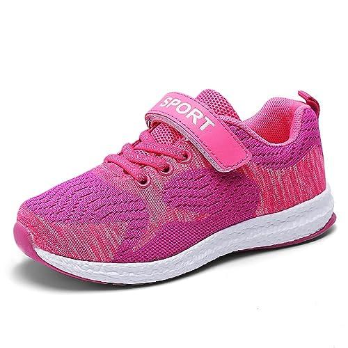 Kinderschuhe Sportschuhe Laufschuhe Mesh Atmungsaktiv Sneaker Turnschuhe  Klettverschluss Wanderschuhe Hallenschuhe für Mädchen Jungen Rosa 30 92cc3a7422
