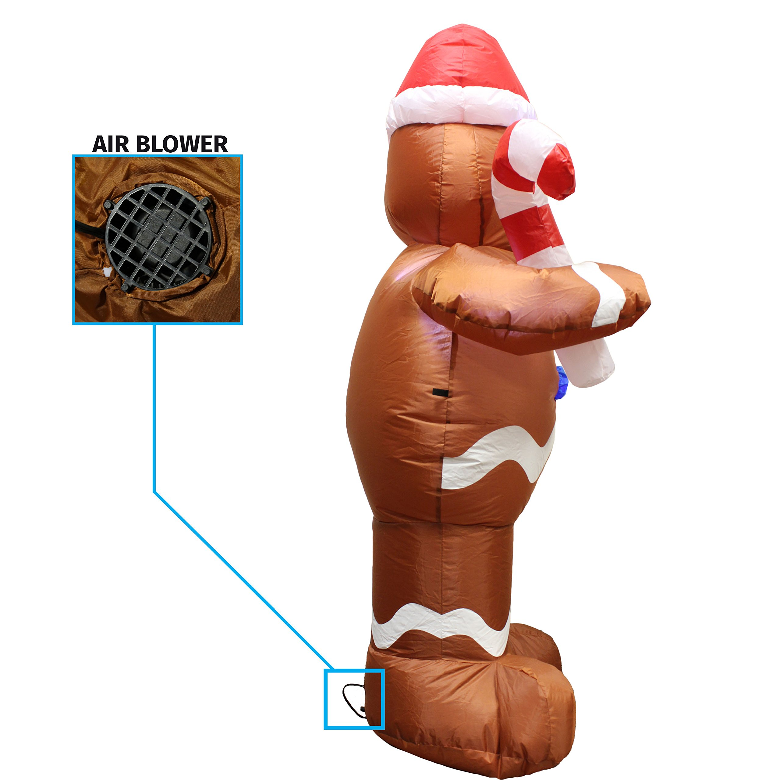 5ft Self-Inflatable Gingerbread Man with Candy Canes Perfect for ...