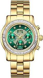JBW Luxury Women's Laurel 9 Diamonds & Swarovski Crystal Baguette Bezel Watch