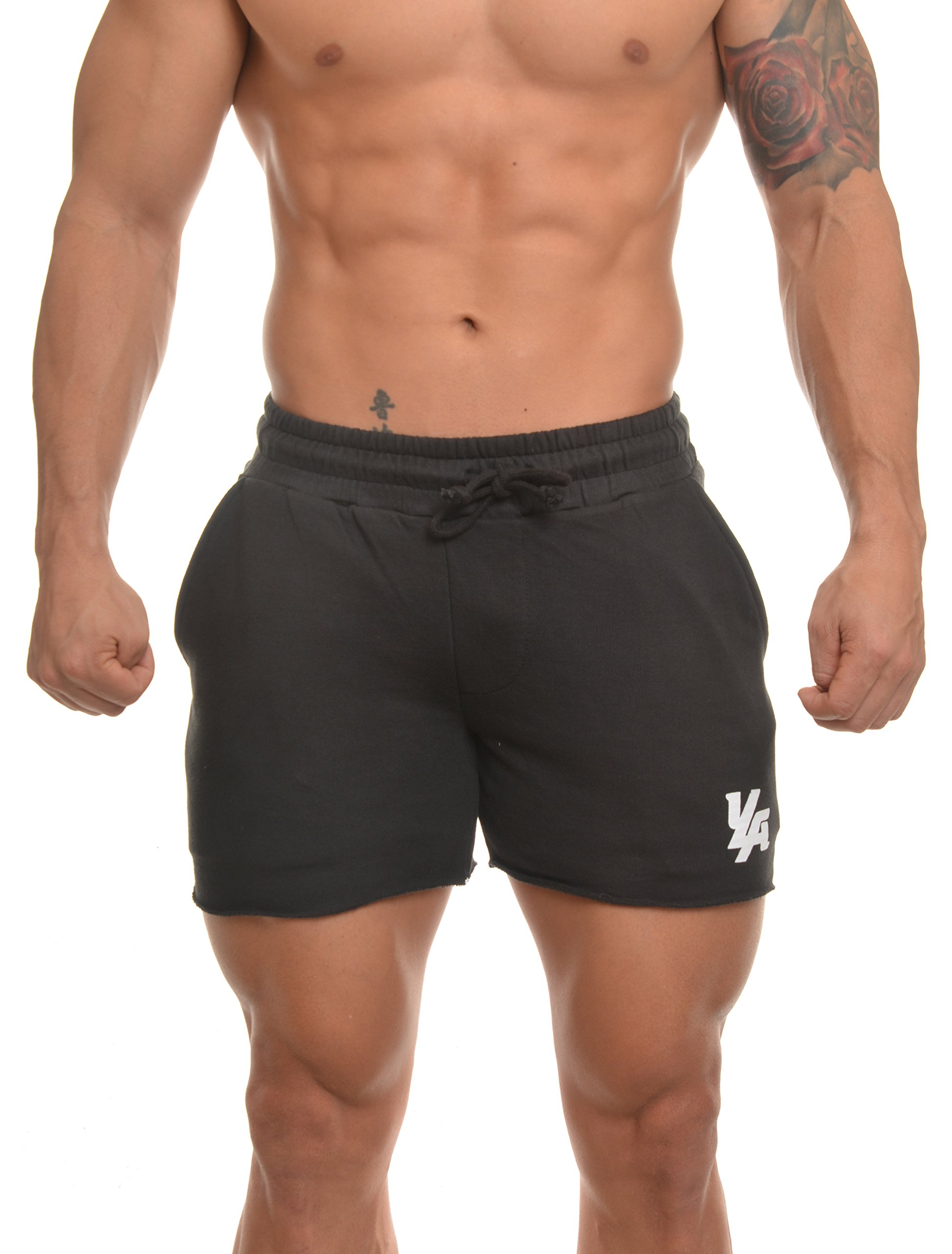 Youngla Men's Bodybuilding Shorts French Terry Solid Gym Running Workout Shorts 102 Black Medium