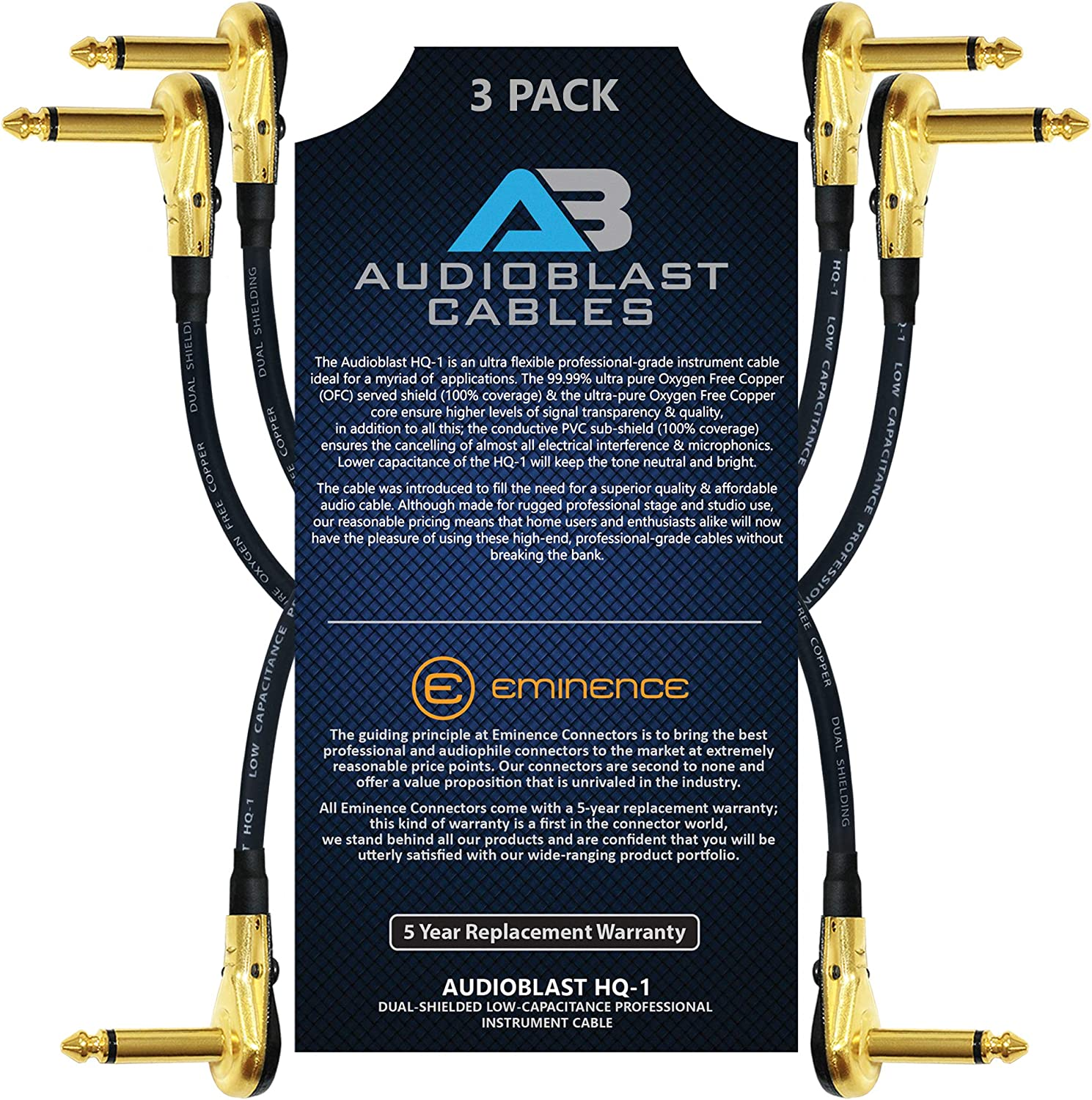 3 Units 12 Inch - Instrument Effects Pedal Patch Cable w//Low-Profile 100/% Ultra Flexible Audioblast HQ-1 Plugs /& Dual Staggered Boots R//A Gold Pancake TS 6.35mm Dual Shielded