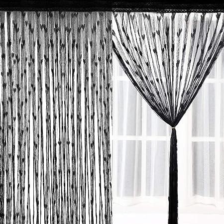 Amazon De 2 Stuck Faden Vorhang Panel Mit Herz Muster Schwarz