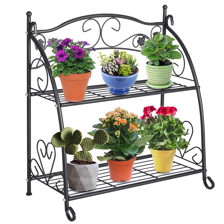 DOEWORKS 2 Tier Metal Plant Stand Storage Rack Shelf Pot Holder for Indoor Outdoor Use, Black