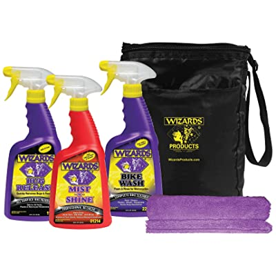 Wizards - Motorcycle Quick Kit Cleaner, Detailer, and Bug Remover with Fiber Cloth and Bag: Automotive