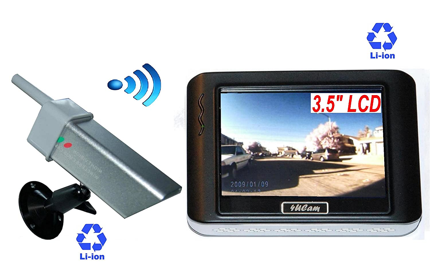 4Ucam 3.5-inch Magnetic Portable Wireless Camera System Rechargeable Battery Built-in Monitor and Wireless Magnetic Camera 842AL