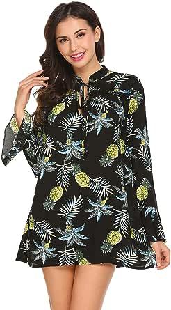 SoTeer Women's Boho Print Blouse Top Loose Long Sleeve Casual Tunic