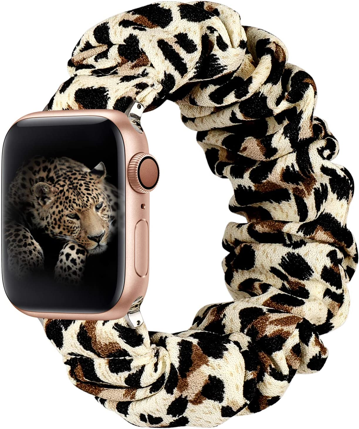 ALNBO Compatible with Apple Watch Band 38mm 40mm Soft Floral Fabric Elastic Scrunchies iWatch Bands for Apple Watch Series 6,5,4,3,2,1 38mm/40mm Leopard S