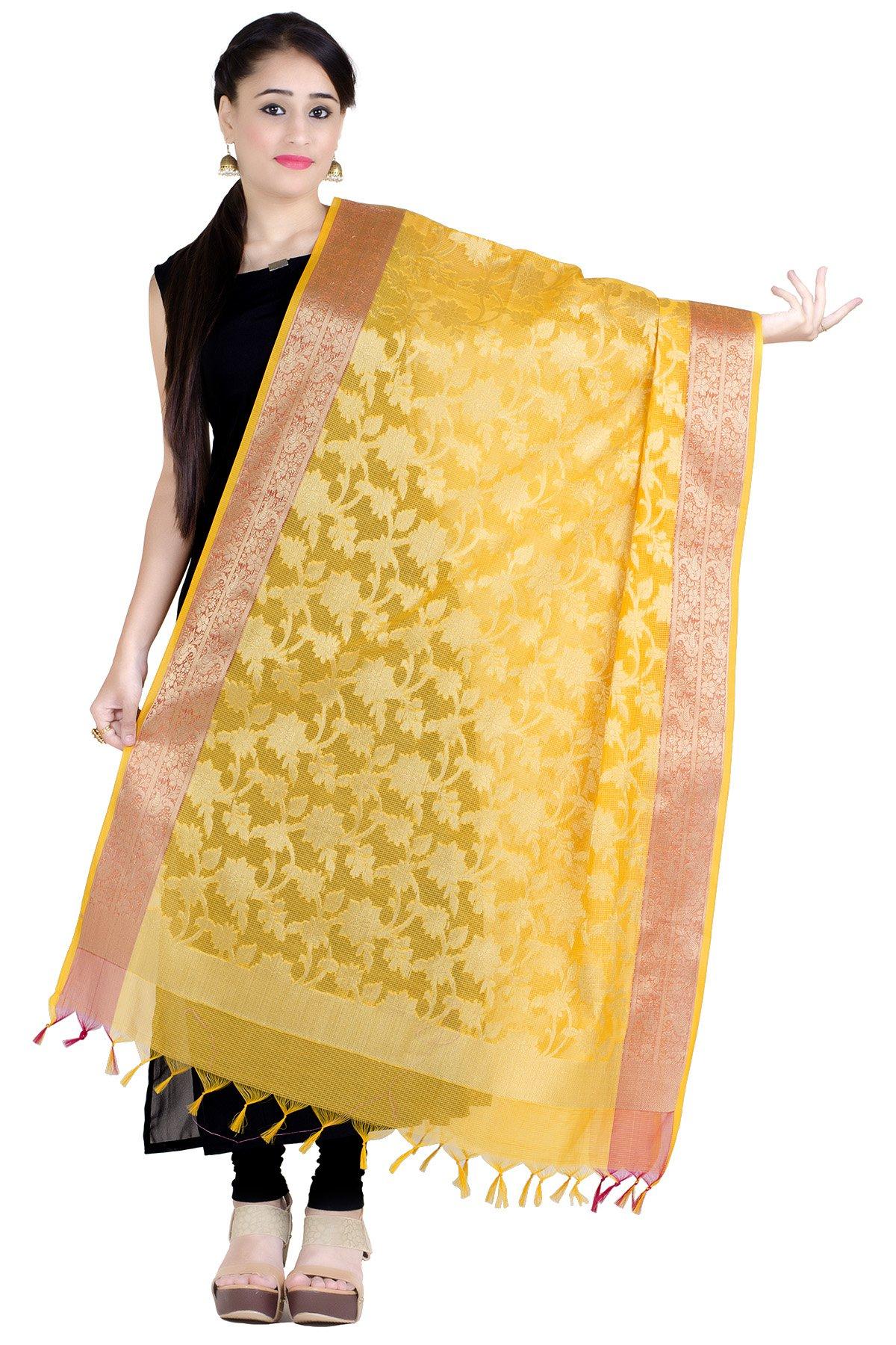 Chandrakala Women's Handwoven Zari Work Banarasi Dupatta Stole Scarf (Yellow)