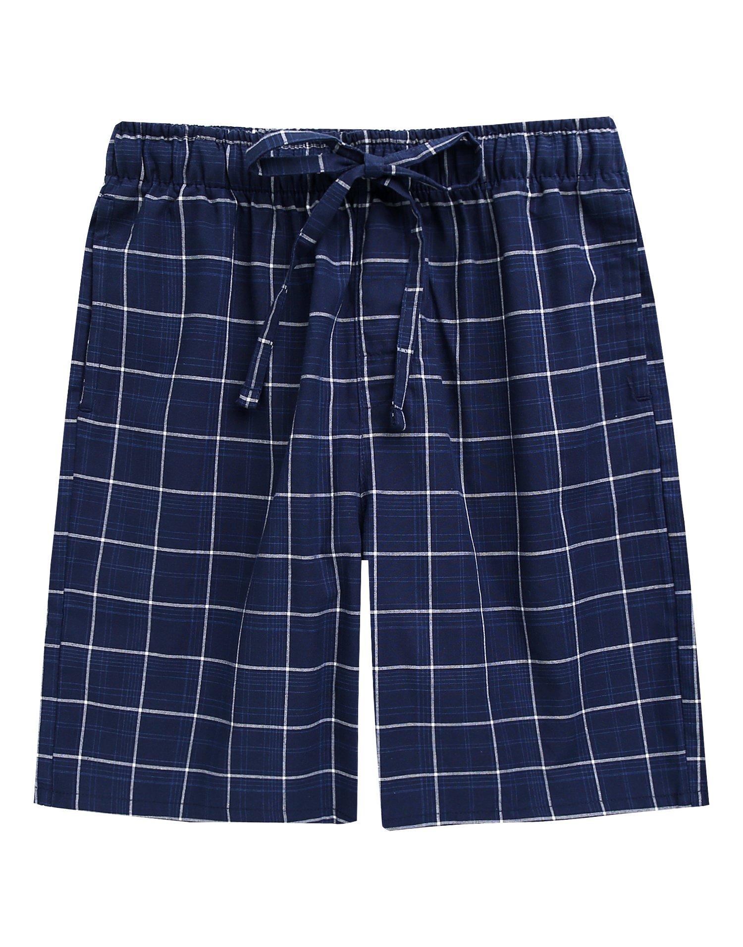 TINFL Men's Plaid Check Cotton Lounge Sleep Shorts MSP-SB015-Navy L