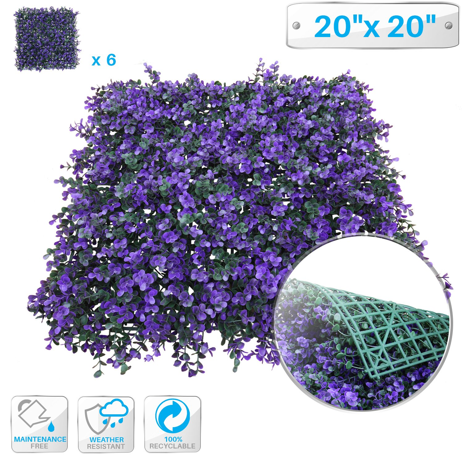"""Patio Paradise 6pcs 20""""x20"""" Artificial Purple Lavender Hedge Panel, Decorative Privacy Fence Screen Greenery Faux Plant Tree Wall for Indoor or Outdoor Garden Décor"""