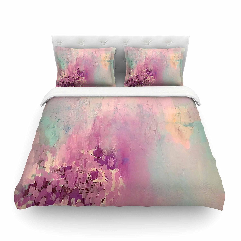 Kess InHouse Geordanna Fields Serene Nebula Blue Pink Painting Queen Featherweight Duvet Cover 88 x 88
