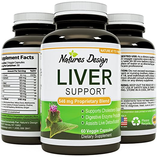 Opti Natural Liver Support Supplement with Milk Thistle Extract for Liver Detoxification 60 Veggie Capsules