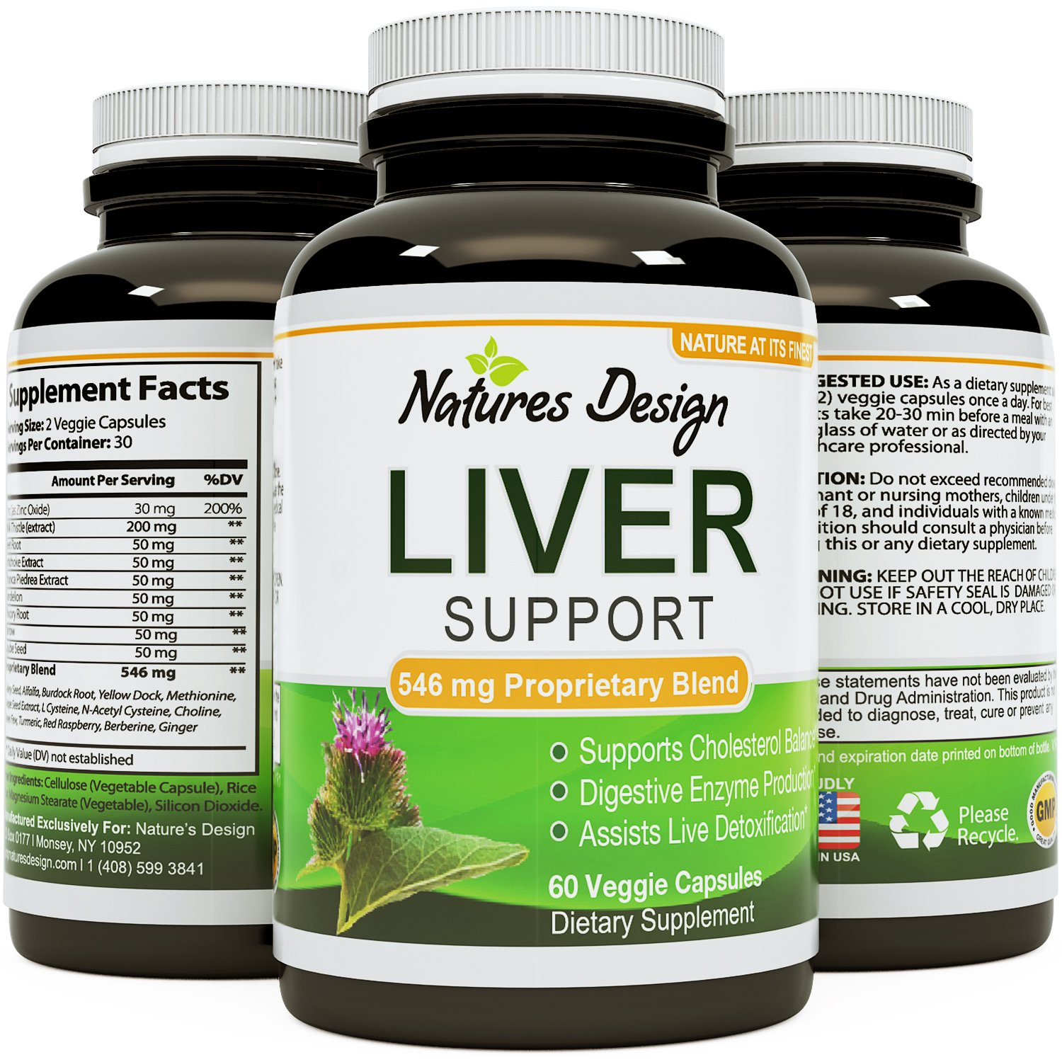 All Natural Detox Cleanse Liver Support Vitamins for Men and Women with Milk Thistle, Dandelion and Artichoke Health Capsules Relieve Hangover a Supplements Boost Immune System Metabolism