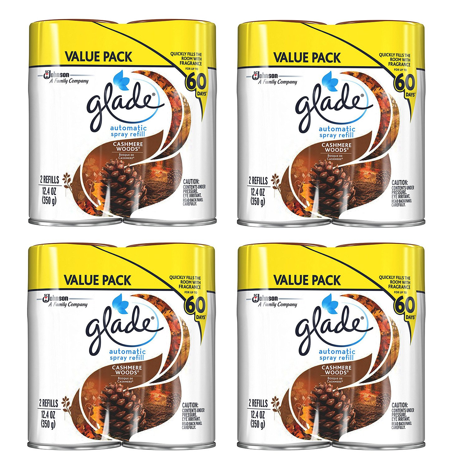 Glade Automatic Spray qardc Air Freshener Refill, Cashmere Woods, 2 Count (4 Pack)