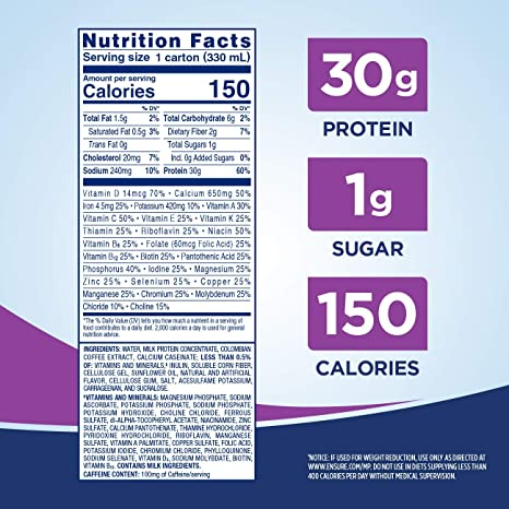 Ensure Max Protein Nutritional Shake with 30g of High-Quality Protein, 1g  of Sugar, High Protein Shake,