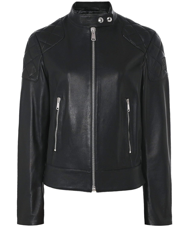 Black Belstaff Women's Belhaven Funnel Neck Leather Jacket Black