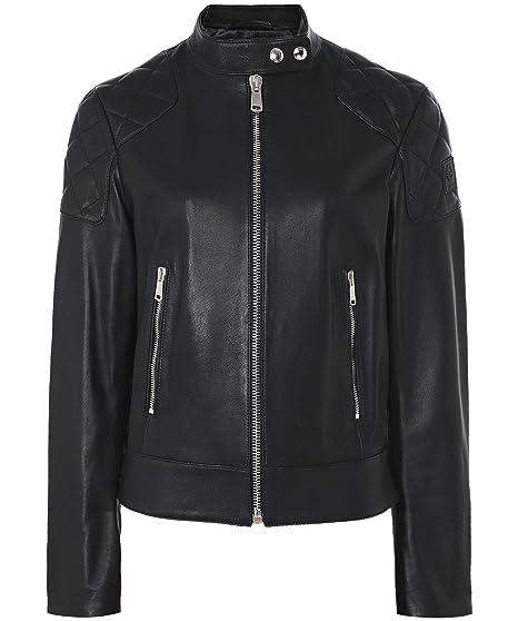 e513c2831166 Belstaff Women s Belhaven Funnel Neck Leather Jacket Black  Amazon ...
