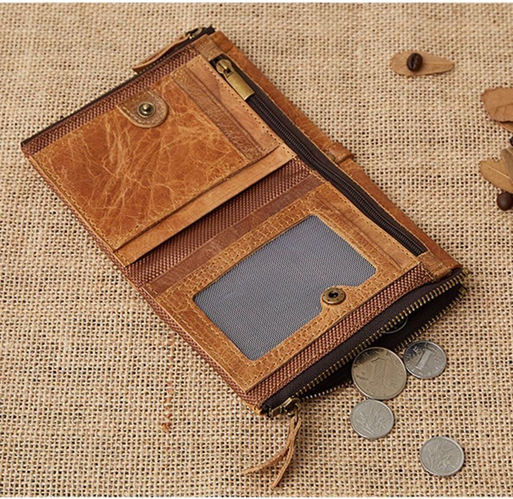 EXOH Fashion multicapa bolsillos Vintage hombres de la cartera con cremallera doble