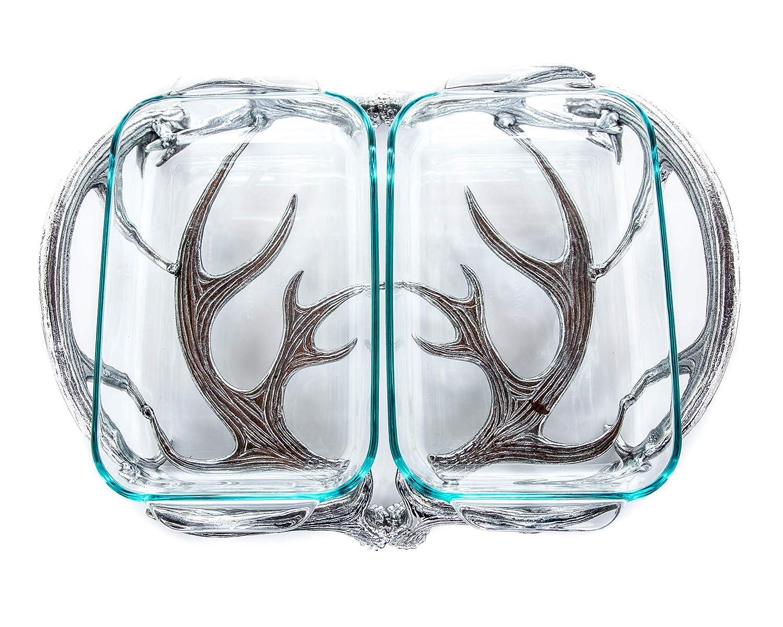 """Arthur Court Designs Aluminum Antler Pattern Pyrex Casserole Dish Holder 18"""" 2 Quart Pyrex"""