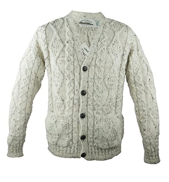 100% irlandés Fleck de Merino lana cuello en V Botón Aran Jersey por ...