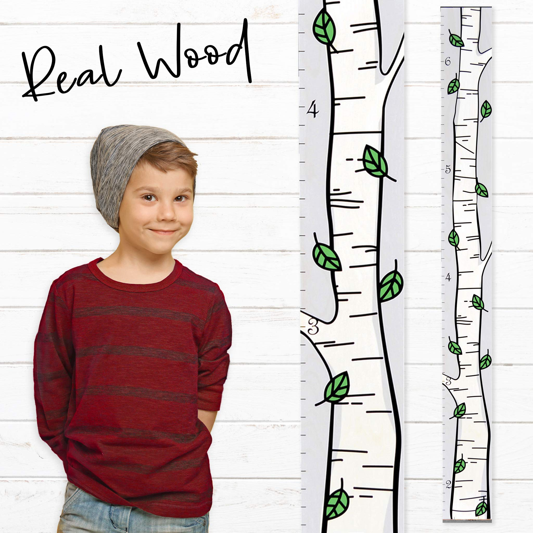 Growth Chart Art | Wooden Birch Tree Growth Chart for Kids [Boys and Girls] | Growth Chart Ruler Kids Height Chart | Measuring Kids Height Wall Decor for Kids | Green Leaf Single by Growth Chart Art