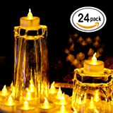OMGAI 24 PCS LED Tea lights Candles Battery-Powered Small Flickering Flameless Candle for Home Decoration - Amber Yellow