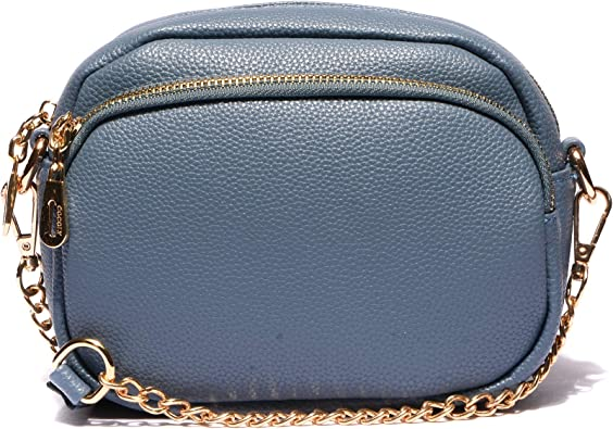 Blue Womens Leather Small Crossbody Handbag