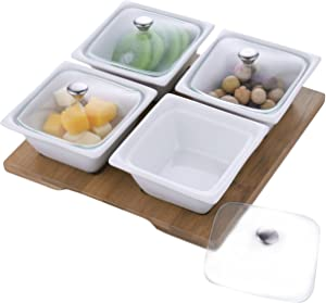 MyGift White Ceramic Relish Serving Bowl Set with Glass Lids & Bamboo Tray, Set of 4