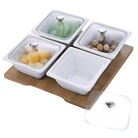Amazoncom White Ceramic Relish Serving Bowl Set With Glass Lids