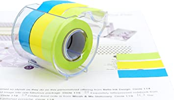 """4A Roll Sticky Note 0.6/""""x315/'/' Full Adhesive Notes Neon Blue//Orange//Green 3 Roll"""