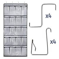 Heavy Duty Over the Door Shoe Organizer with 8 Extra-Thick Hooks and 20 Spacious Pockets | Rip-Resistant Hanging Rack | Versatile Storage Holder for Shoes, Pantry, Bathroom & More