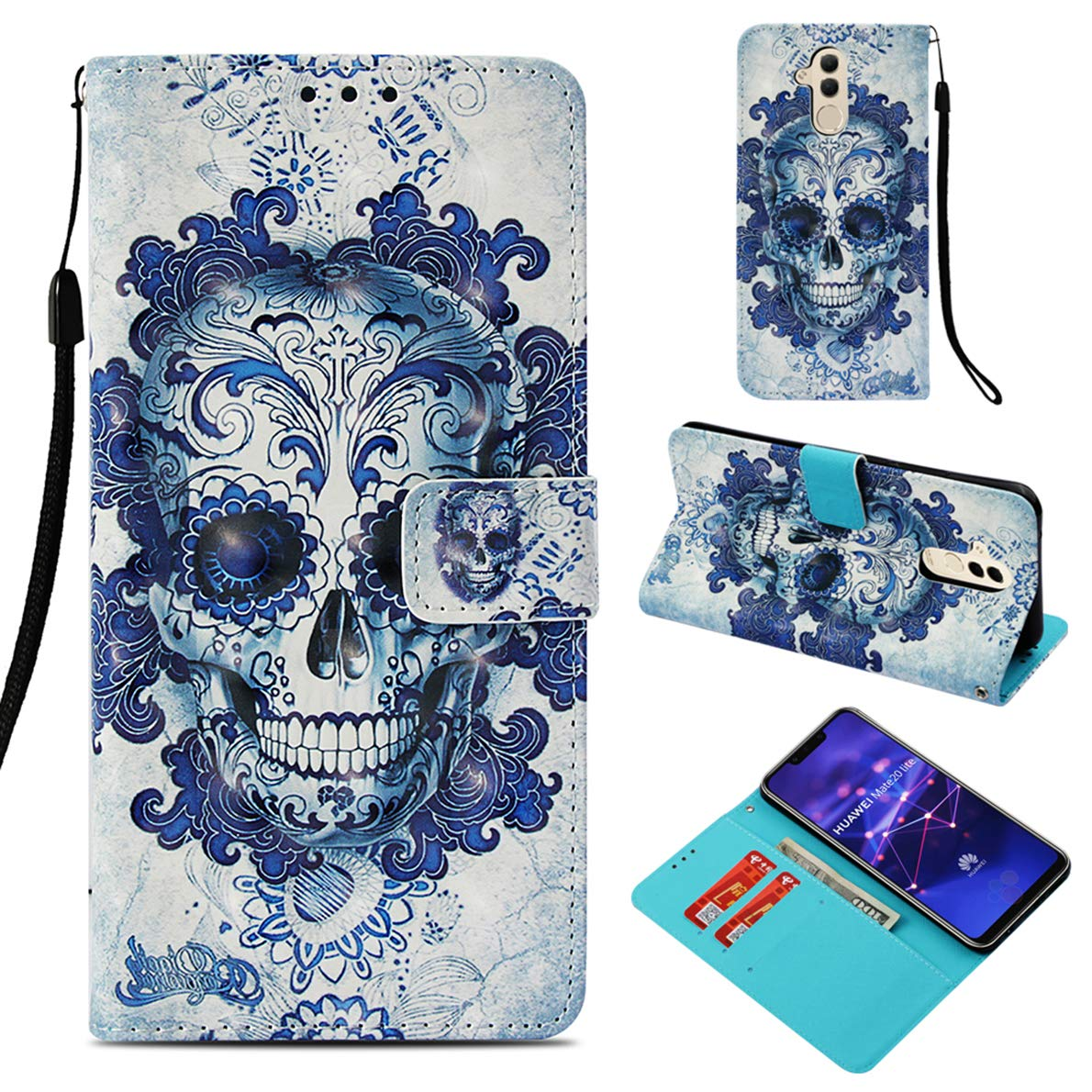 Huawei Mate 20 Lite Case, SHUYIT Butterfly Flower Color Pattern PU Leather Case Book Flip Wallet Case Cover with Card Slots Stand Magnetic Closure Folio Shell Case for Huawei Mate 20 Lite